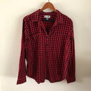 OLD NAVY • Plaid Half Button Up Shirt XL
